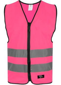 Safety Pink markeringsvest med glidelåslukning i front.
