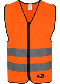 Safety Orange markeringsvest med glidelåslukning i front.